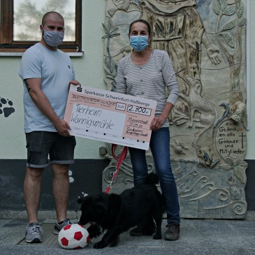 Spendenaktion: Förderkreis Kugellagerstadt übergibt insgesamt 4.600 Euro an Tierheim Wannigsmühle und Jugendhilfezentrum Maria Schutz